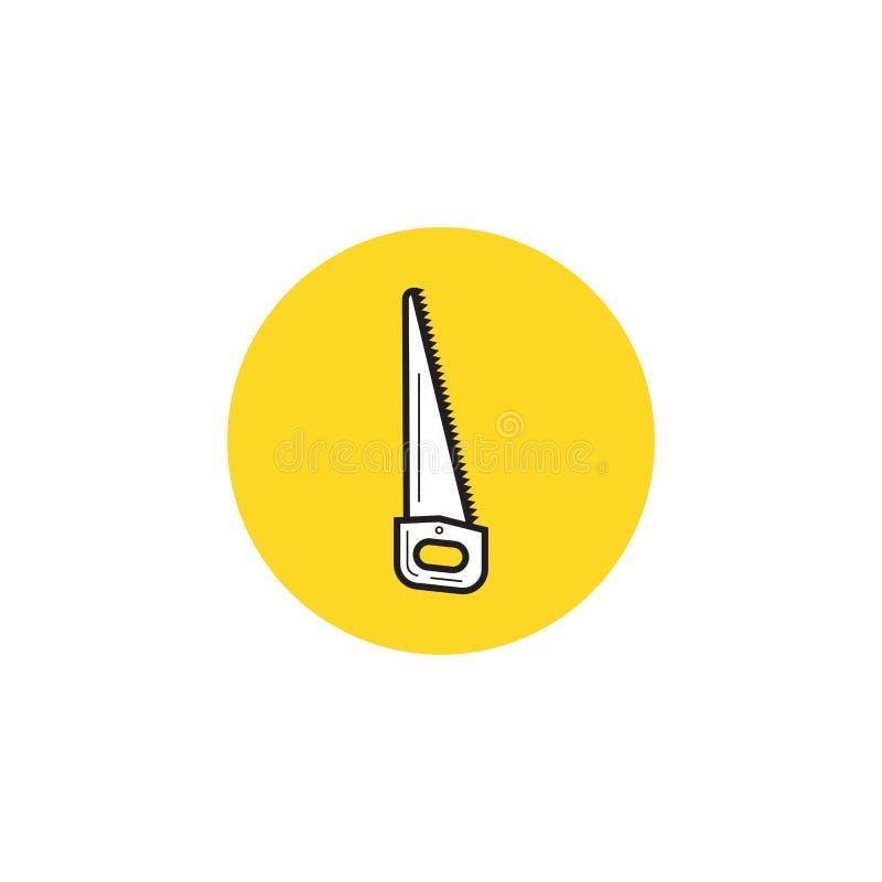Значок ручной пилы в черном стиле изолированный на белой предпосылке Иллюстрация вектора запаса символа лесопилки и тимберса иллюстрация штока