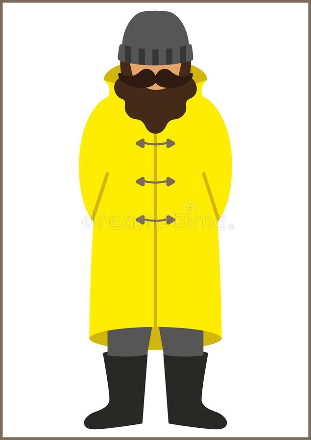Значок рыболова/sailorman плоский - человек с усиком носить бороды в ботинках плаща пальто канавы и шляпе knit иллюстрация вектора