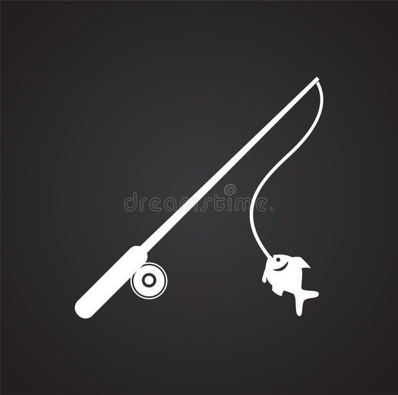 Значок рыболовной удочки на черной предпосылке для графика и веб-дизайна, современного простого знака вектора интернет принципиал иллюстрация штока