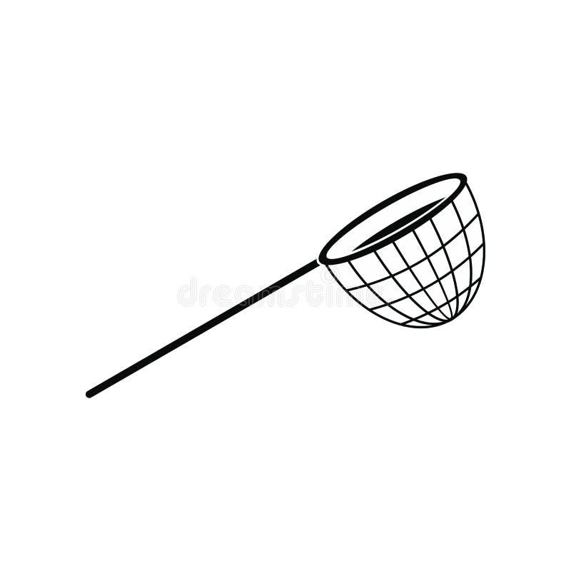 Значок рыболовной сети черный простой иллюстрация вектора