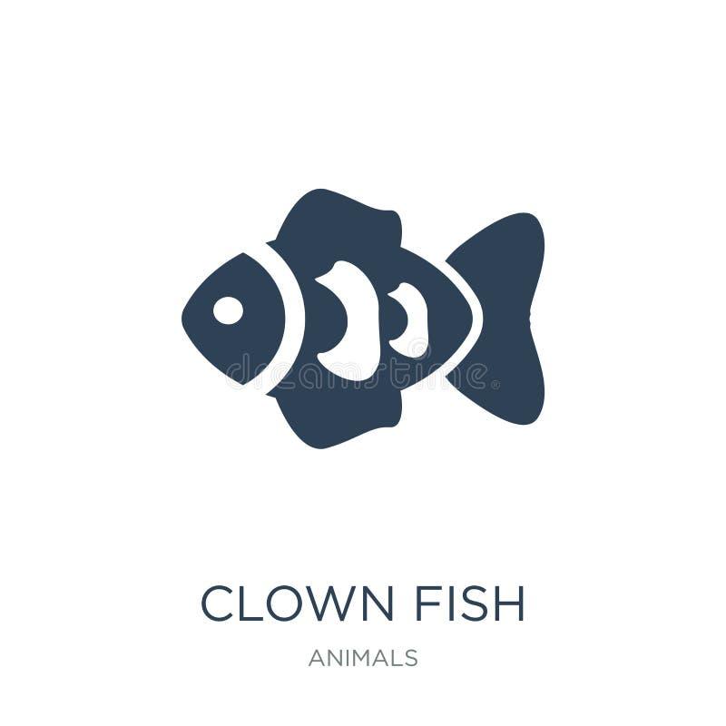 значок рыб клоуна в ультрамодном стиле дизайна значок рыб клоуна изолированный на белой предпосылке значок вектора рыб клоуна про иллюстрация вектора