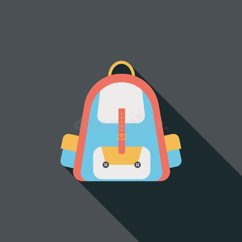 Значок рюкзака плоский с длинной тенью иллюстрация штока