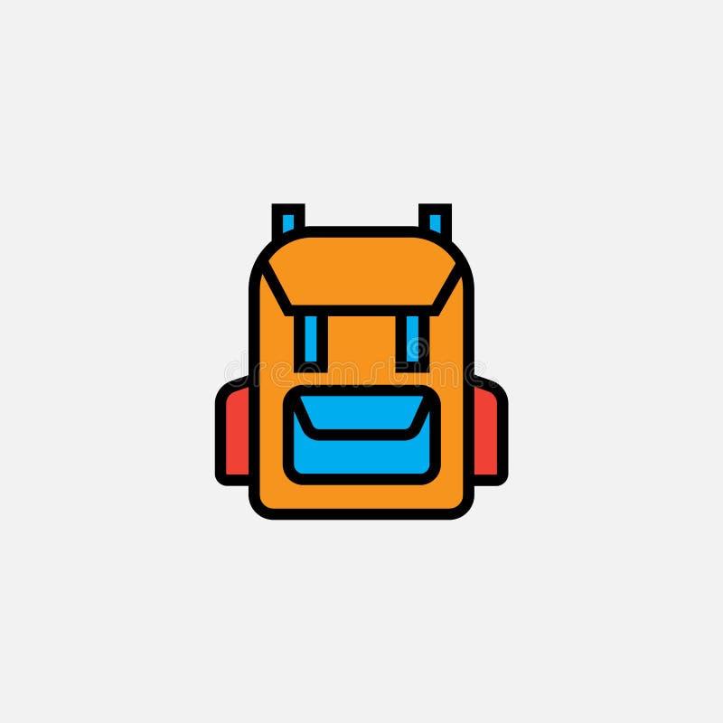 Значок рюкзака рюкзака, иллюстрация логотипа вектора плана, заполнил пиктограмму цвета линейную изолированную на белизне бесплатная иллюстрация