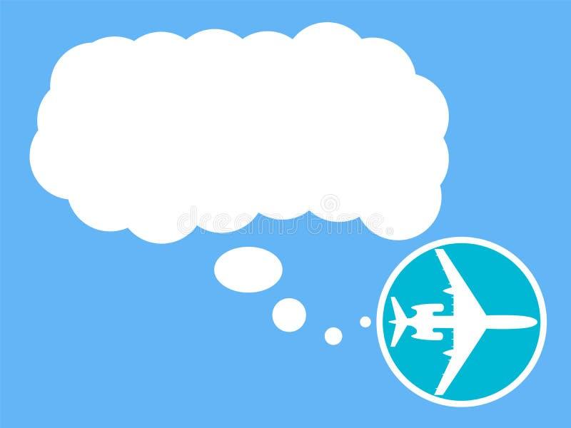 Значок самолета с пузырем для текста Концепция перемещения, знамя, плакат r иллюстрация штока