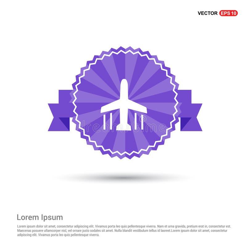 Значок самолета - фиолетовое знамя ленты иллюстрация вектора