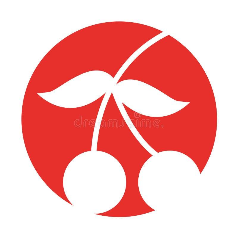 Значок свежих фруктов вишни изолированный иллюстрация штока