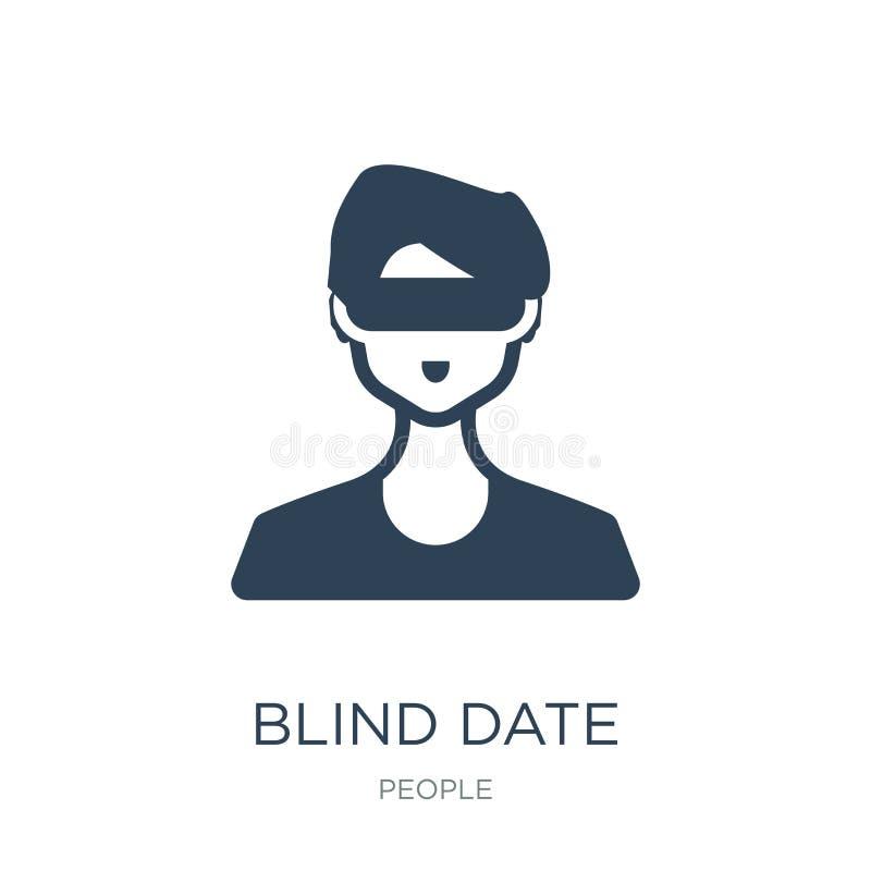 значок свидания вслепую в ультрамодном стиле дизайна значок свидания вслепую изолированный на белой предпосылке значок вектора св иллюстрация штока