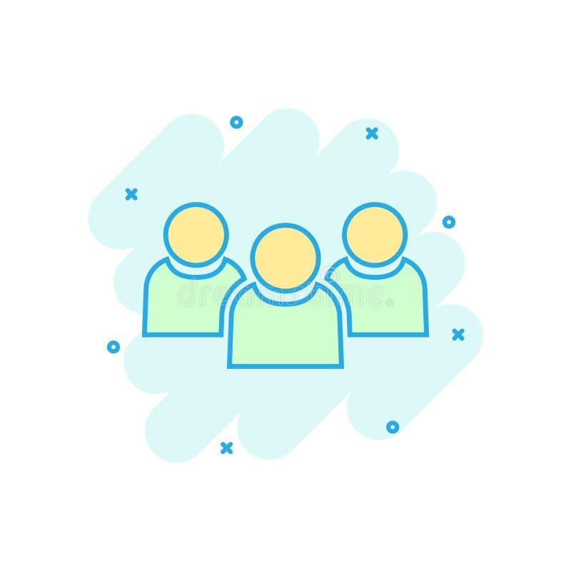 Значок связи людей в шуточном стиле Пиктограмма иллюстрации мультфильма вектора людей Влияние выплеска концепции дела партнерства бесплатная иллюстрация
