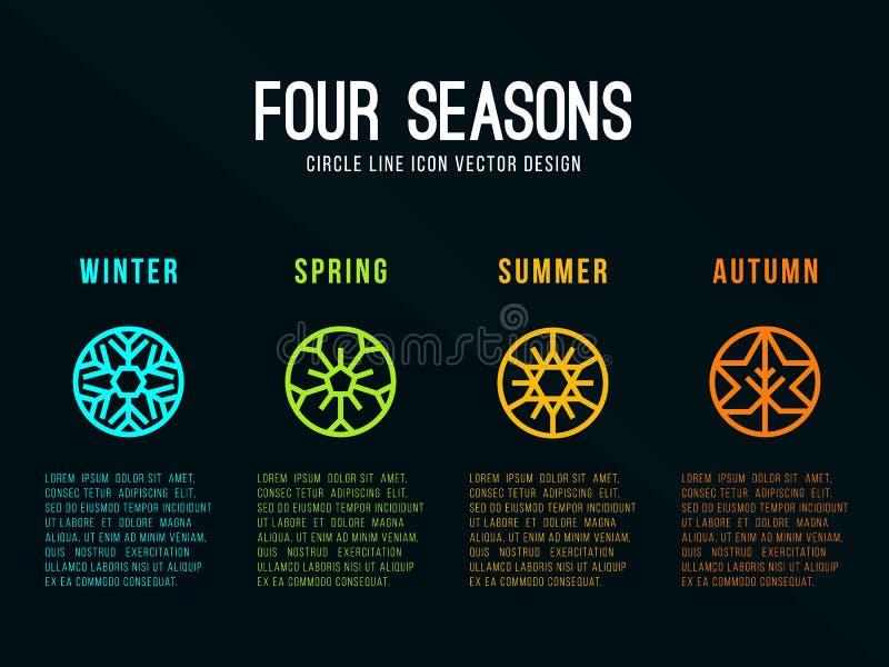 значок 4 сезонов подписывает внутри границу круга с зимой снега, весной цветка, летом Солнця и дизайном вектора осени кленового л иллюстрация вектора
