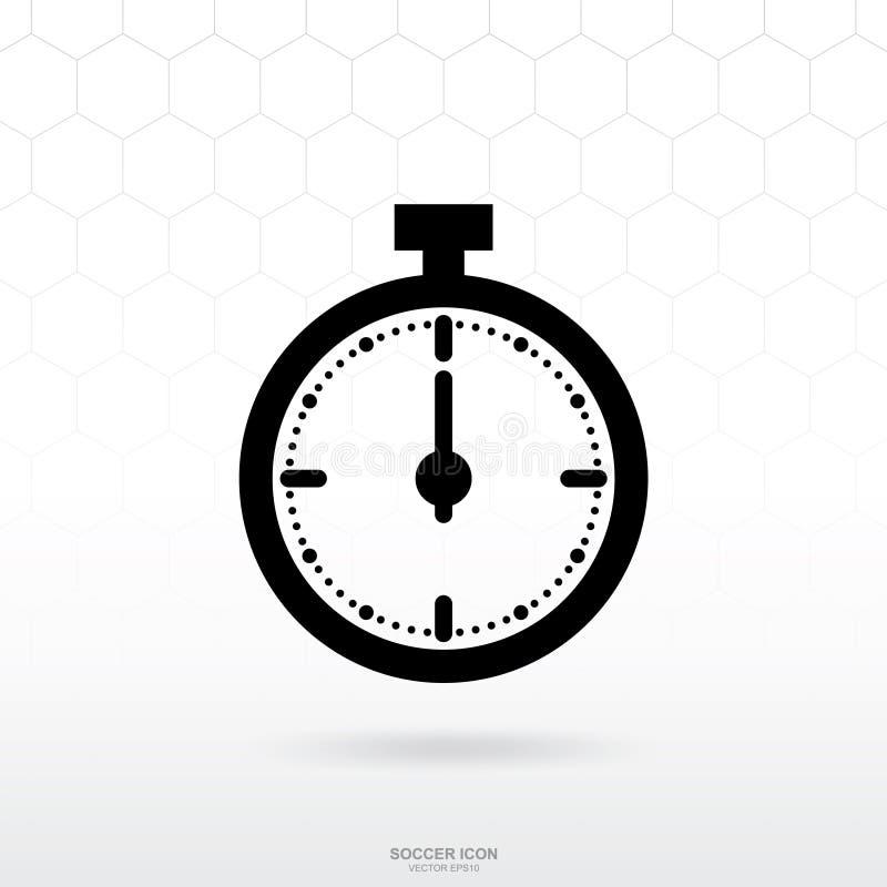 Значок секундомера или значок часов Знак и символ спорта футбола футбола иллюстрация вектора