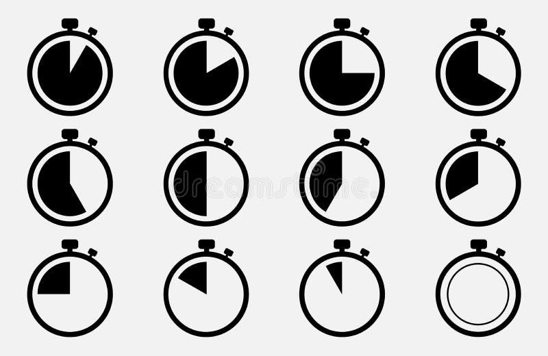 Значок секундомера установленный вектор экрана иллюстрации 10 eps стоковое изображение rf