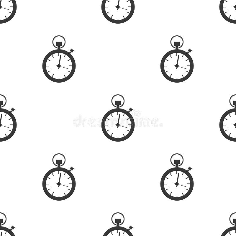 Значок секундомера в черном стиле изолированный на белой предпосылке Логистическая иллюстрация вектора запаса картины иллюстрация штока