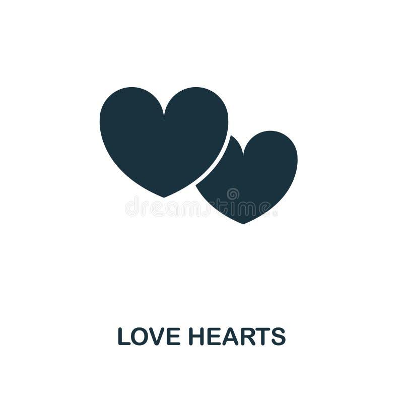 Значок сердец любов творческий Простая иллюстрация элемента Дизайн символа концепции сердец любов от собрания медового месяца Улу иллюстрация вектора