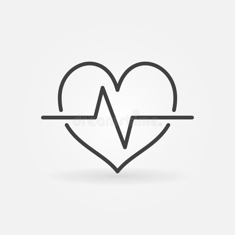 Значок сердечного цикла линейный Символ концепции биения сердца вектора иллюстрация вектора