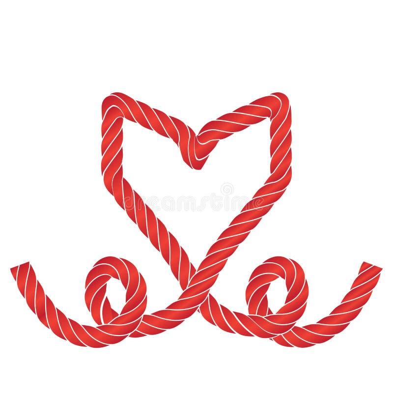 Значок сердца веревочки вектора или рамка символа любов изолировали иллюстрация штока