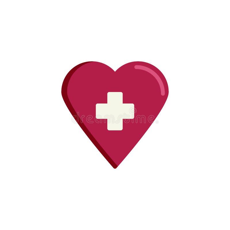 Значок сердца здоровья плоский иллюстрация штока