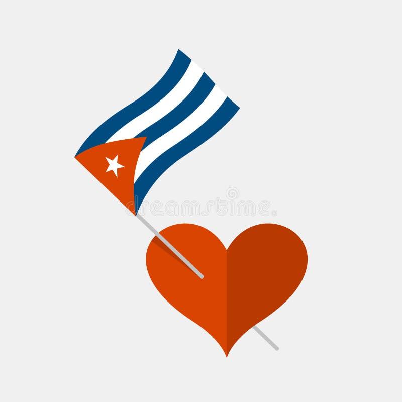 Значок сердца с кубинским флагом бесплатная иллюстрация