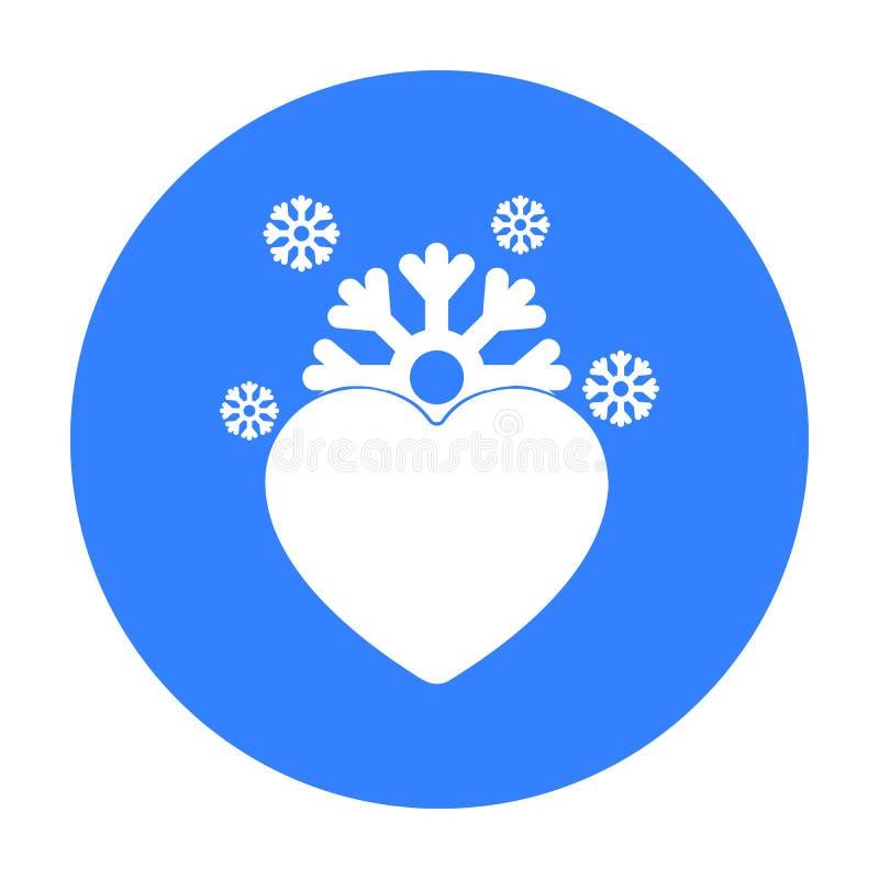Значок сердца в черном стиле изолированный на белой предпосылке Романтичная иллюстрация вектора запаса символа иллюстрация штока
