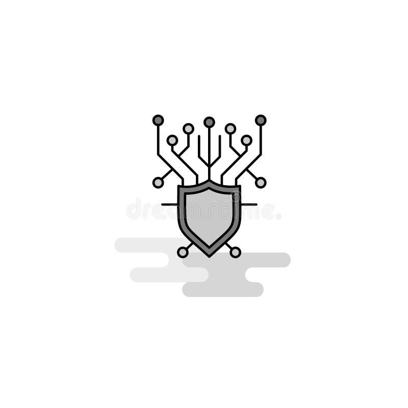 Значок сети безопасностью кибер Плоская линия заполненный серый вектор значка бесплатная иллюстрация