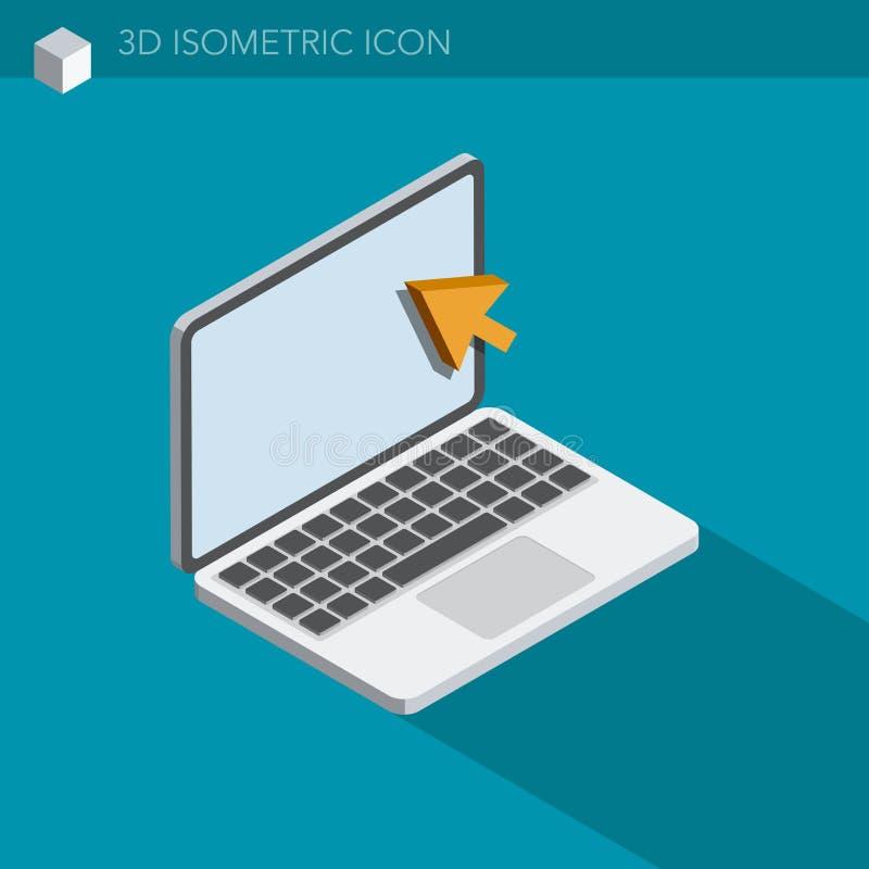 Значок сети компьтер-книжки 3D равновеликий иллюстрация вектора