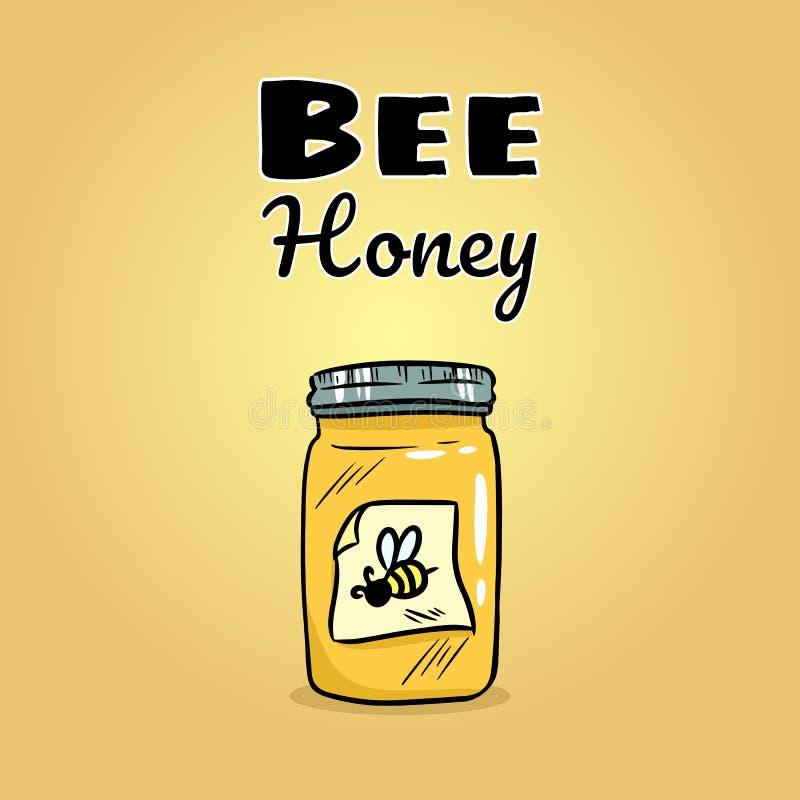 Значок сети опарника меда пчелы Изображение логотипа стиля мультфиль иллюстрация вектора