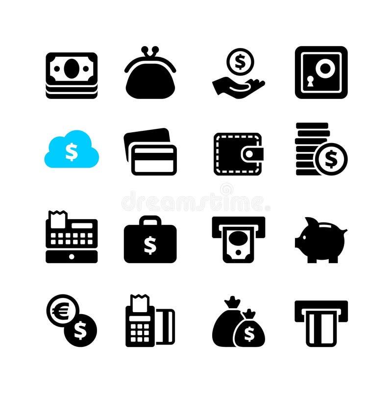 Значок сети установил - деньги, наличные деньги, карточку иллюстрация вектора