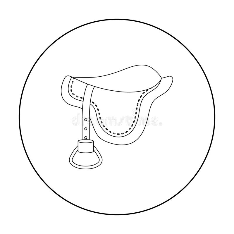 Значок седловины в стиле плана изолированный на белой предпосылке Иллюстрация вектора запаса символа Hippodrome и лошади иллюстрация вектора