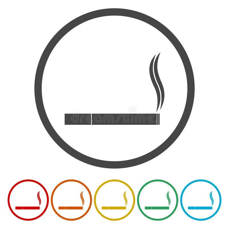 значок сигареты Плоские стили дизайна, линейных и цвета Изолированные иллюстрации вектора иллюстрация штока