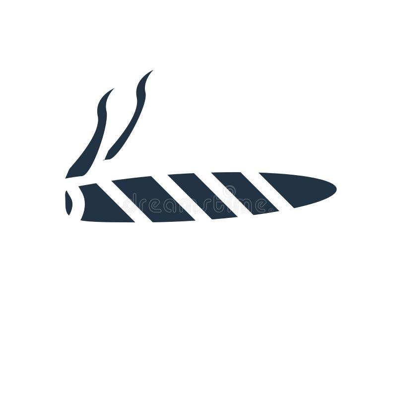 Значок сигары изолированный на белой предпосылке, знаке сигары бесплатная иллюстрация