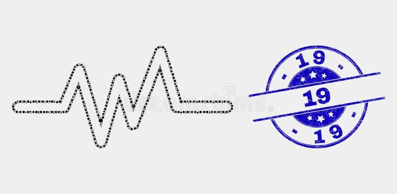 Значок сигнала ИМПа ульс точки вектора и огорчить водяной знак 19 иллюстрация вектора