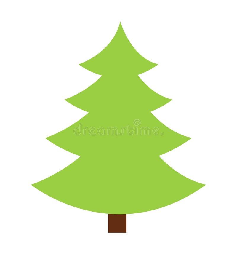 Значок силуэта вектора значка рождественской елки плоско изолированный на белой предпосылке бесплатная иллюстрация