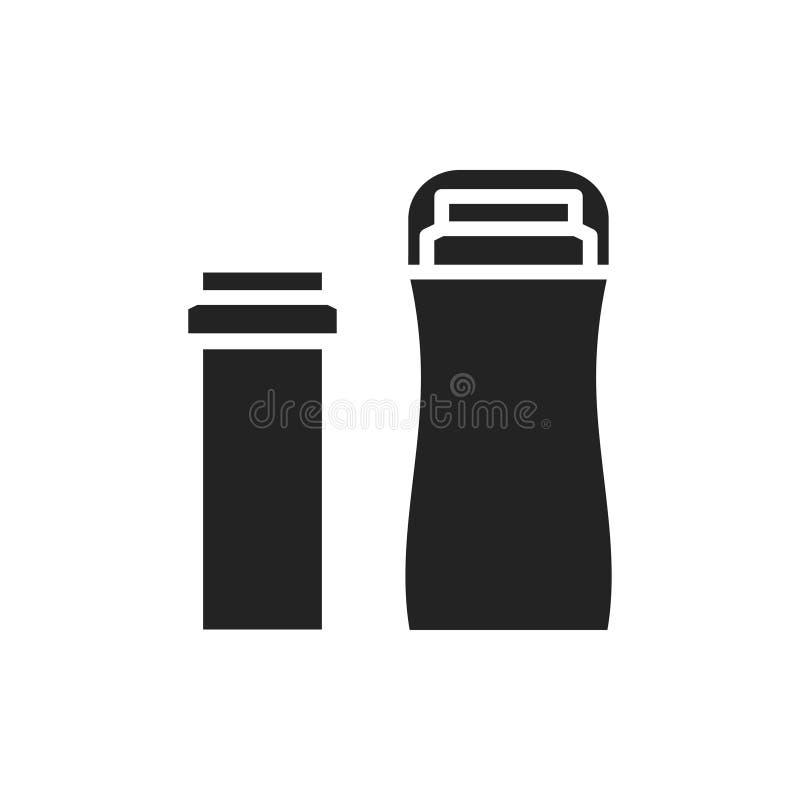 Значок силуэта грелки подогревателя воска патрона Горячее удаление волос патрона Вощить ролика Депиляционный крен дальше иллюстрация вектора