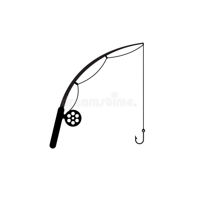Значок силуэта рыболовной удочки простой иллюстрация вектора