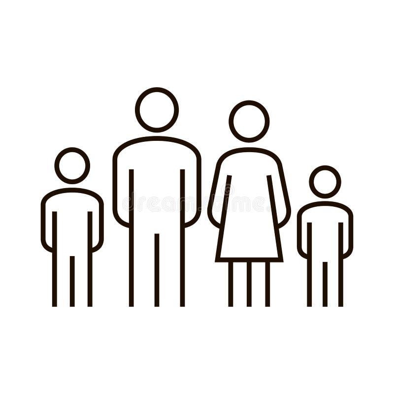 Значок силуэта семьи Изолированная вектором иллюстрация дизайна простой семьи плоская Икона семьи также вектор иллюстрации притяж иллюстрация вектора