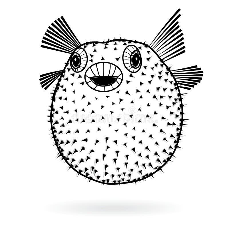 Значок силуэта fugu рыб скалозуба острый, татуировка иллюстрации вектора, стиль шаржа для футболок бесплатная иллюстрация