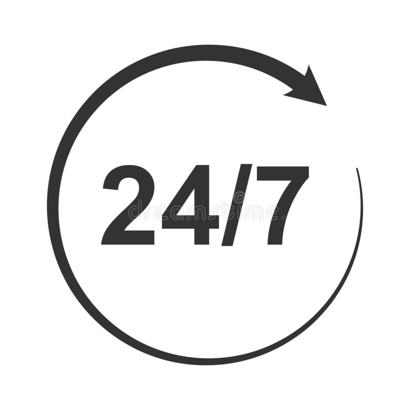 Значок символа, знака открытого круглосуточно или 24 часа в сутки и 7 дней в неделю бесплатная иллюстрация