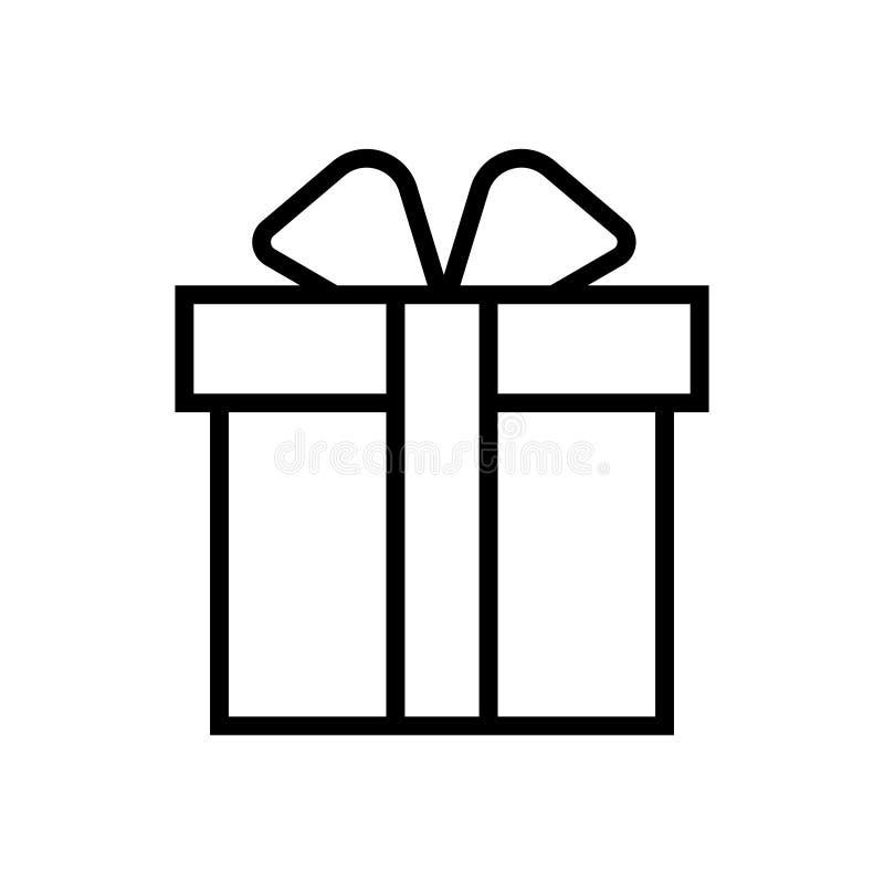 Значок символа иллюстрации вектора подарка черноты подарка линейный иллюстрация вектора