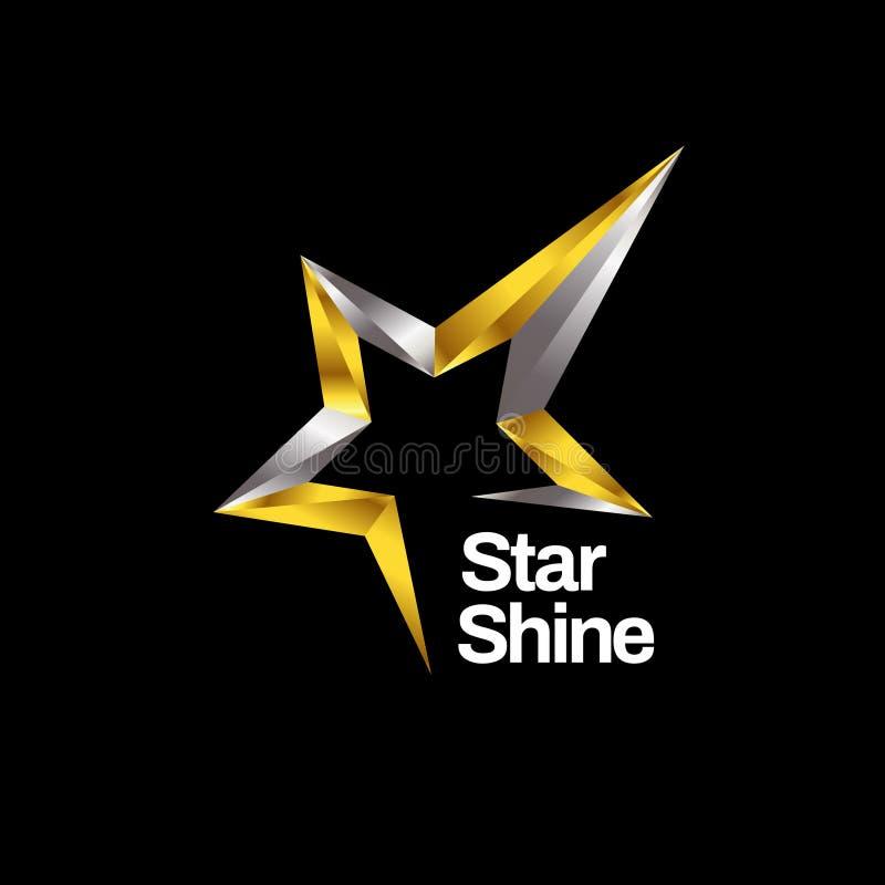Значок символа логотипа звезды сияющего золота серебряный иллюстрация вектора