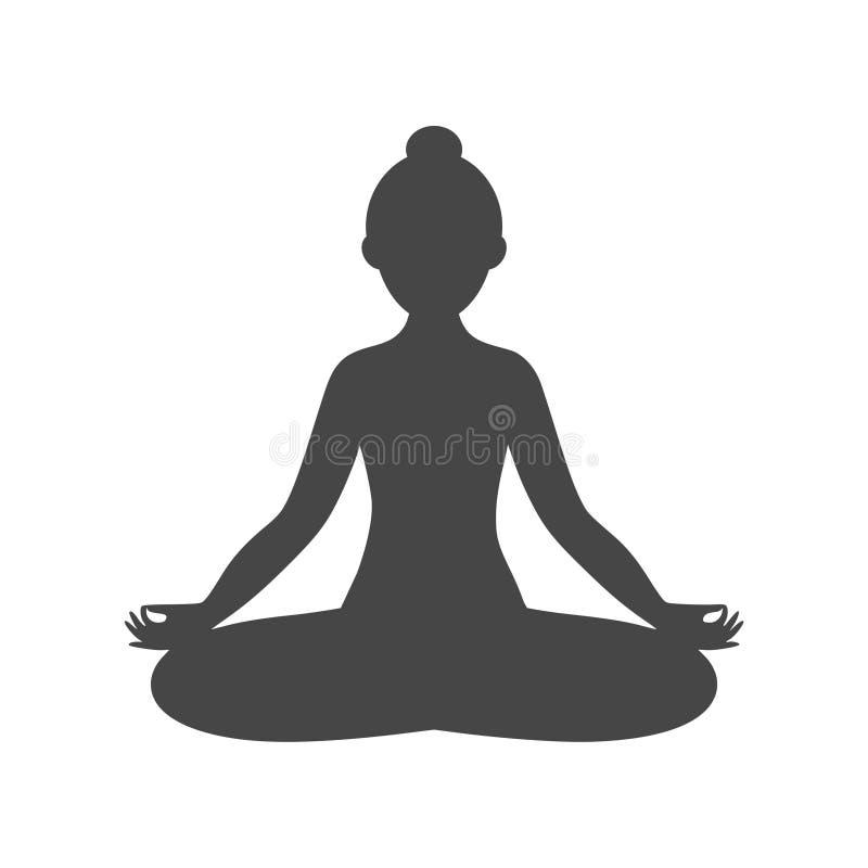 Значок символа силуэта логотипа представления Дзэн раздумья йоги иллюстрация штока