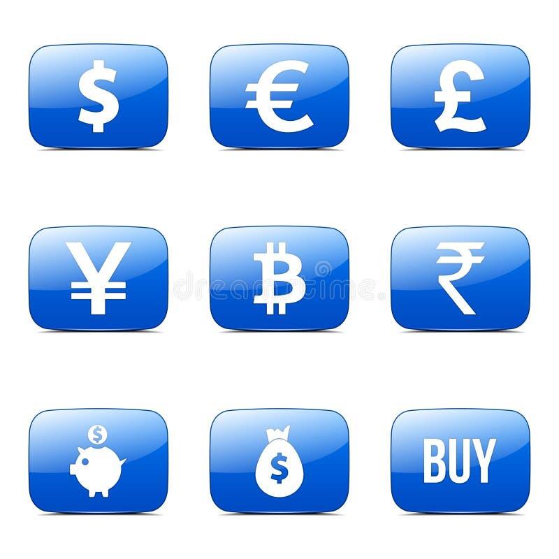 Значок сини вектора квадрата знака валюты иллюстрация штока