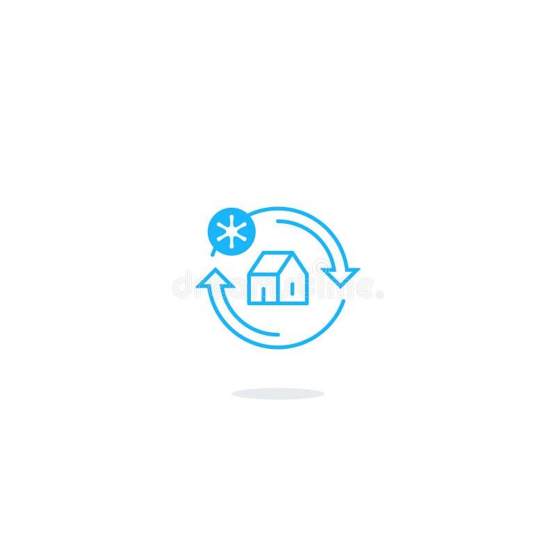 Значок системы охлаждения, логотип контроля температуры иллюстрация штока