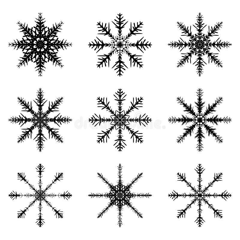 Значок силуэта снежинки, символ, дизайн Зима, иллюстрация вектора рождества изолированная на белой предпосылке иллюстрация вектора