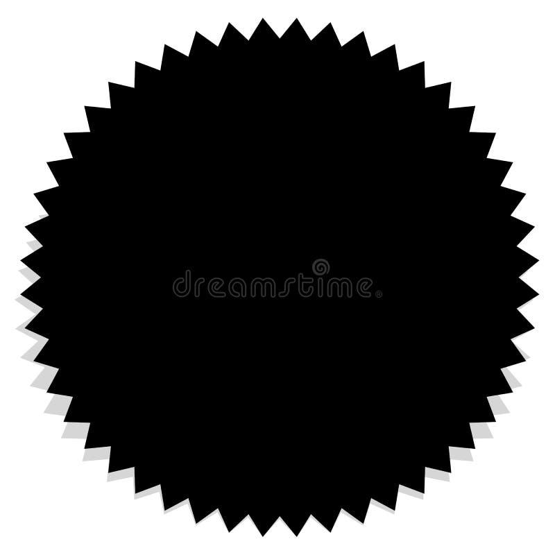 Значок, силуэт ярлыка пустой черный значок с краем зигзага иллюстрация штока