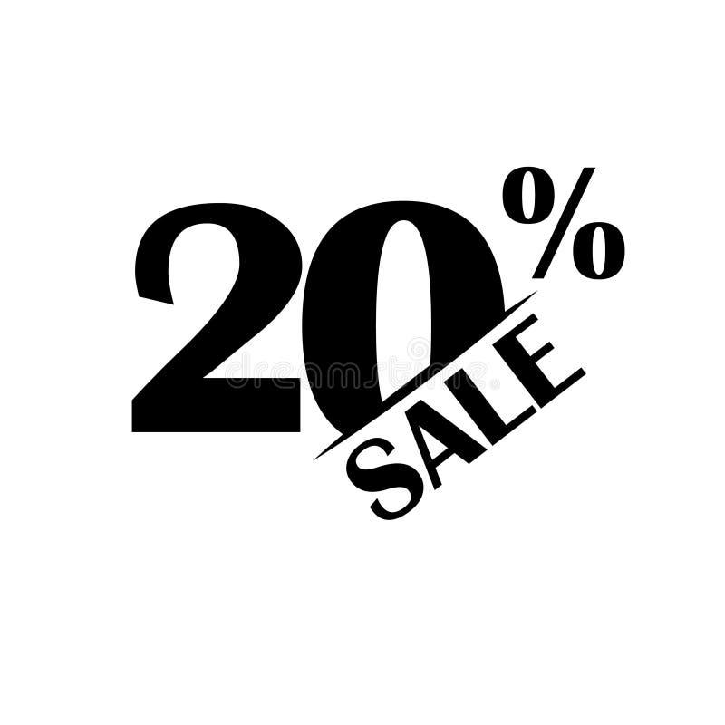 Значок скидки продаж Особенная цена предложения 20 процентов - вектор иллюстрация штока