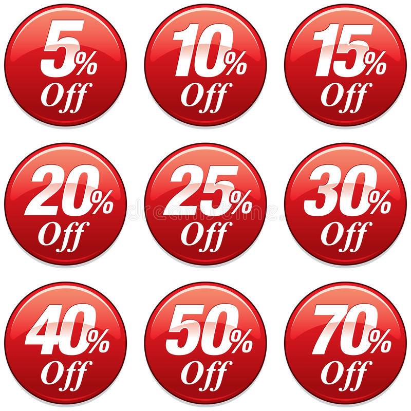 Значок скидки продажи покупок в красном цвете иллюстрация вектора