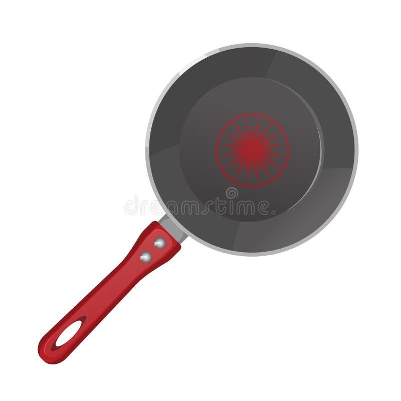 Значок сковороды вектора реалистический пустой в взгляд сверху иллюстрация штока