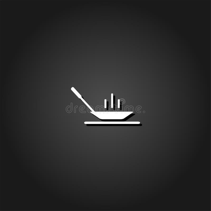 Значок сковороды плоский иллюстрация вектора