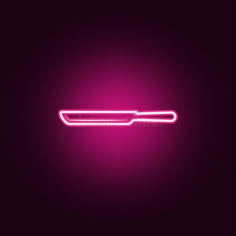 Значок сковороды Элементы инструментов кухни в неоновых значках стиля Простой значок для вебсайтов, веб-дизайн, мобильное приложе иллюстрация штока