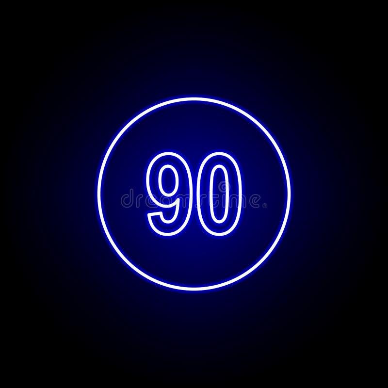 значок скорости 90 в голубом неоновом стиле Элементы значка иллюстрации времени Знаки, символы можно использовать для сети, логот иллюстрация штока