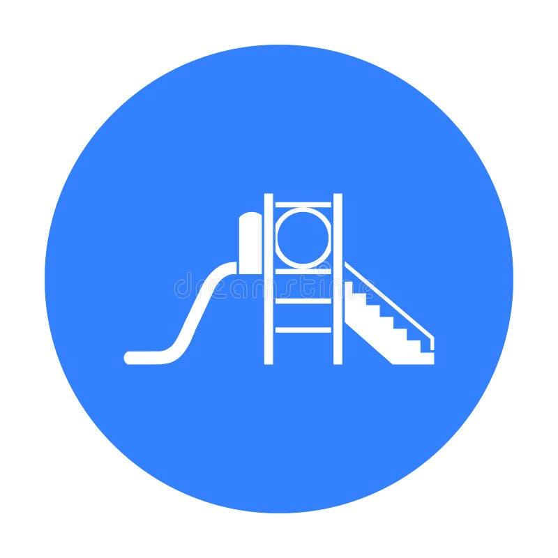 Значок скольжения спортивной площадки в черном стиле изолированный на белой предпосылке Иллюстрация вектора запаса символа сада и бесплатная иллюстрация
